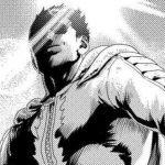 Ilustración del anime 'One Punch-Man' con un primer plano desde abajo de Blast en blanco y negro contra el sol