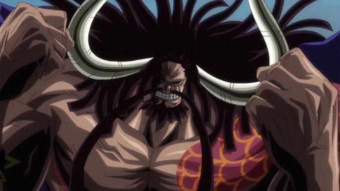 Imagen tomada del anime de One Piece con un primer plano de Kaido.