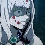 Imagen tomada de la primera temporada de 'Kimetsu no Yaiba' con uno de los demonios de perfil con expresión de miedo.