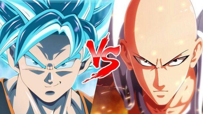"""Imagen con Goku y Saitama lado a lado con un """"vs"""" en el centro."""