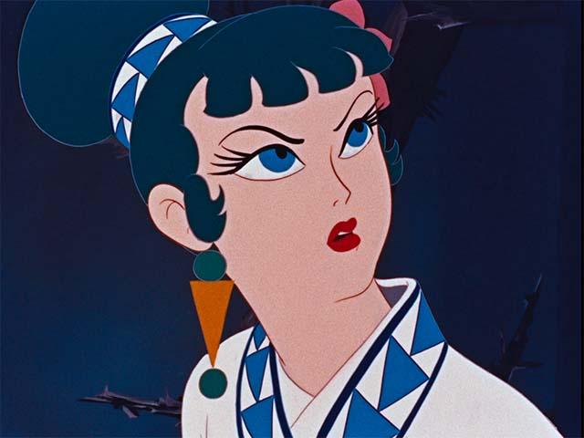 Imagen tomada de la cinta 'Hakujaden' con un primer plano de la protagonista con expresión de molestia e incredulidad.