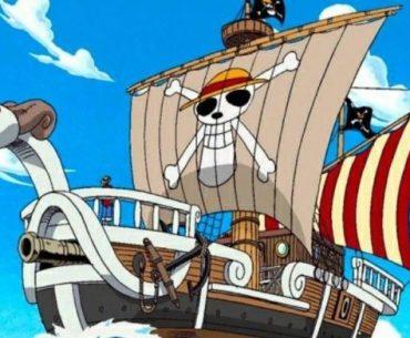 Imagen tomada del anime 'One Piece' con un primer plano del Going Merry contra el cielo azul.