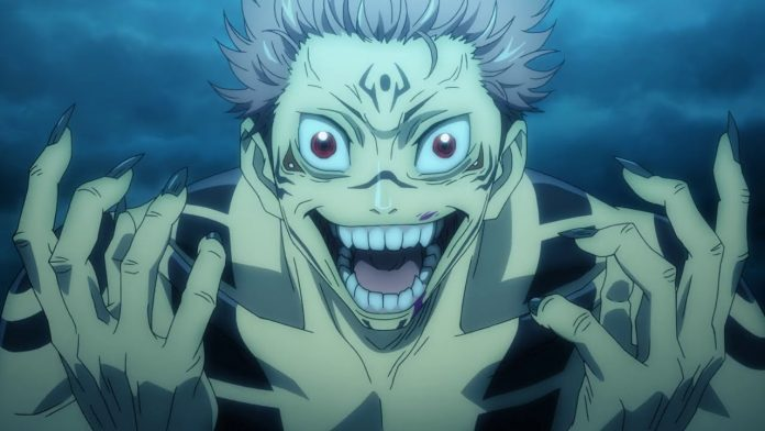 Imagen tomada del anime 'Jujutsu Kaisen' con un primer plano de Sukuna gritando de emoción.