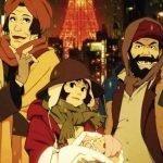 Imagen tomada de Tokyo Godfathers con los protagonistas frente a la torre de Tokio.