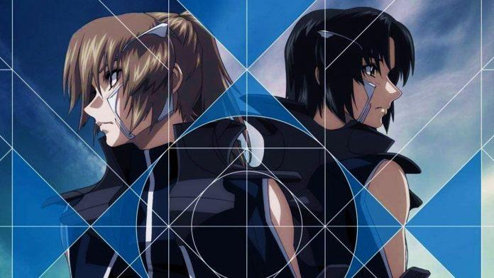 Imagen promocional de 'Soukyuu no Fafner: Dead Aggressor - The Beyond' con un primer plano de los protagonistas mirando en direcciónes opuestas con una figura geometrica sobre sus rostros.