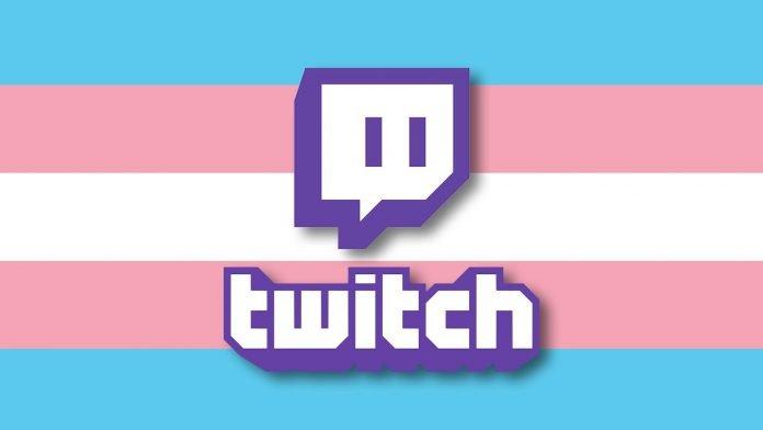 Símbolo de Twitch colocado sobre la bandera de la comunidad Transgénero