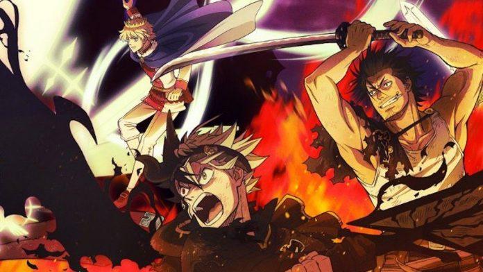 Imagen promocional de 'Black Clover' con los protagonistas de perfil mientras se preparan para la batalla en un fondo de fuego.