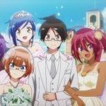 Imagen tomada de 'Bokutachi es Benkyou ga Dekinai' con todos los protagonistas vestidos para la boda.