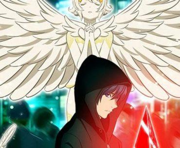 Imagen promocional de 'Platinum End' con el protagonista de perfil y mirando a la cámara mientras sostiene un safiro y al fondo se ve un ángel con las alas desplegadas.