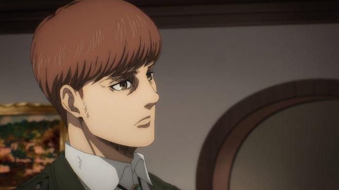 Imagen tomada del capítulo 13 de 'Shingeki no Kyojin The Final Season' con un primer plano de perfil de Floch.