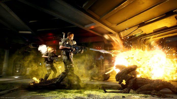 Captura de pantalla de Aliens: Fireteam, con un grupo de Marines luchando contra los Aliens