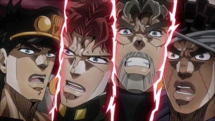 Imagen tomada de 'Jojo no Kimyou na Bouken' con un primer plano del rostro de los protagonistas con expresión de sorpresa.