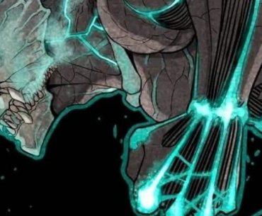 Ilustración del manga de 'Kaijuu 8-gou' con un Kaijuu de perfil mirando hacia la izquierda.con el puño izquierdo cerrado en un fondo negro.