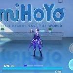 Captura de pantalla de Honkai Impact 3rd dentro de una versión renderizada de las oficinas de miHoYo