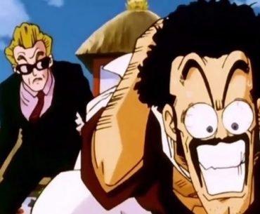 Imagen tomada de 'Dragon Ball Z' con Mr. satan con la.mirada desorbitada mientras al fondo está el referí del torneo.