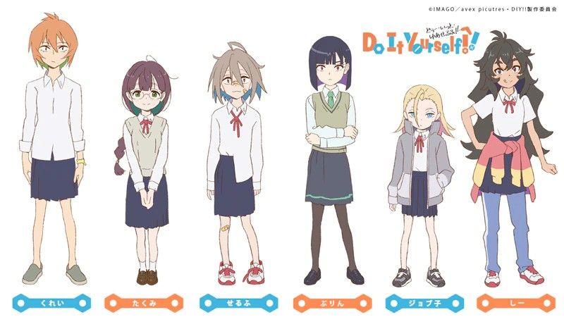Ficha de personajes con todas las protagonistas de 'Do It Yourself!!' en fondo blanco.