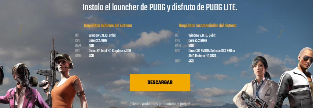 Web en español de PUBG Lite.
