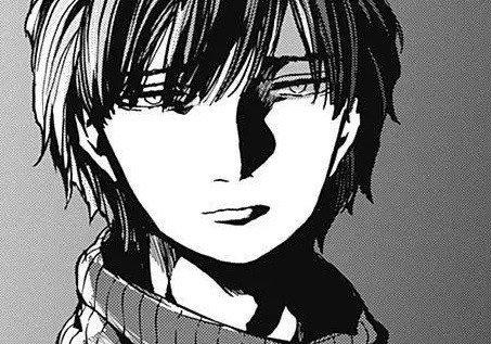 Imagen tomada del manga de Shiori Amase con un primer plano del protagonista.