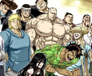 Ilustracion del manga 'Kengan Omega' con los protagonistas reunidos y celebrando.