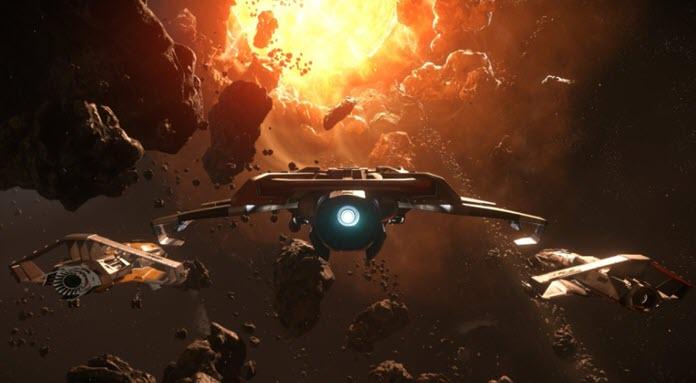 Tres naves espaciales de Star Citizen