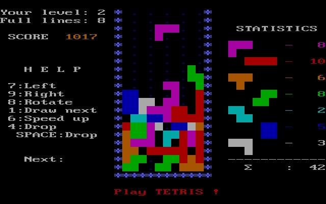 Tetris corriendo en una MS DOS.
