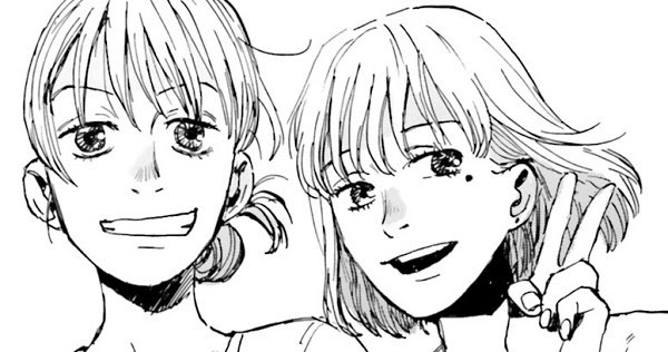 Imagen tomada del manga 'My Broken Mariko' con un primer plano de las protagonistas en blanco y negro.