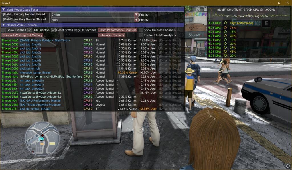 Alto uso de CPU en Yakuza 3.