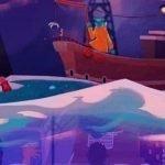Colorida imagen del juego Before Your Eyes que muestra una barca sobre un lago de colores
