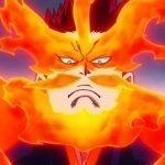 Imagen tomada de 'Boku no Hero Academia' con un primer plano de Endeavor enojado en un fondo violeta.