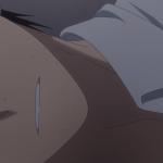 Imagen tomada del anime 'Hige wo Soru. Soshite Joshikousei wo Hirou' con un primer plano del rostro deñ protagonista en el que solo se ve su boca y labios.