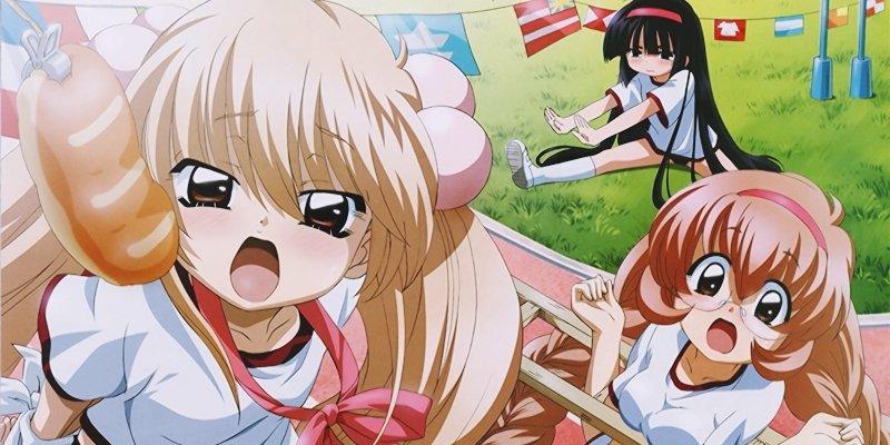 Imagen promocional de 'Kodomo no Jikan' con las protagonistas en poses sugestivas.
