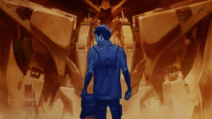Imagen tomada del tráiler de 'Mobile Suit Gundam: Hathaway's Flash' con el protagonista de espaldas viendo hacia su izquierda mientras al fondo se ve un gran Gundam'.