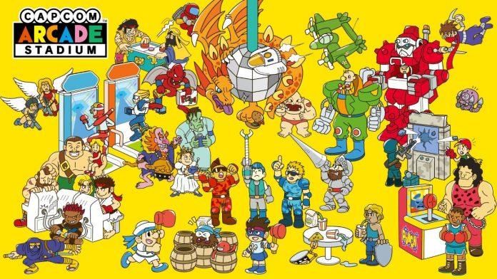 Portada de Capcom Arcade Stadium, cubierta de personajes clásicos de la marca en un fondo amarillo