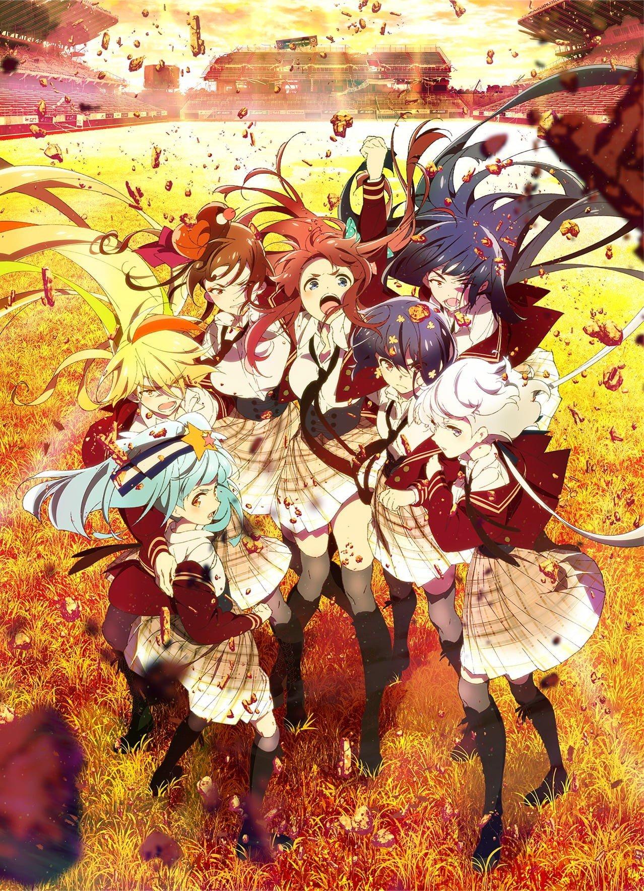 Imagen promocional de 'Zombieland Saga Revenge' con todas las protagonistas reunidas mientras el viento las impulsa desde abajo.