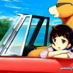 Ilustración de una chica en un automóvil con un oso.