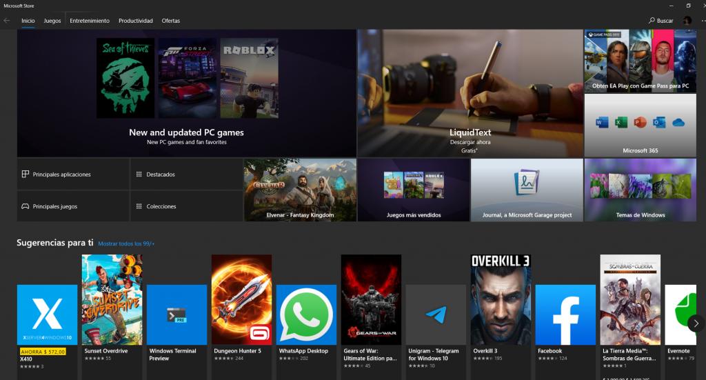 Microsoft Store en PC.