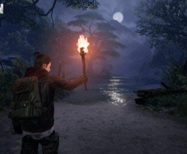 Imagen promocional de Undawn con un hombre cargando una antorcha en medio de un bosque