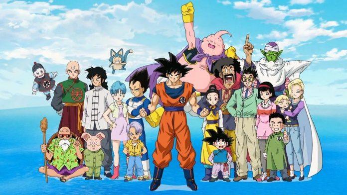 Imagen tomada de 'Dragon Ball Super' con todos los protagonistas sonriendo para la cámara mientras flotan en el cielo