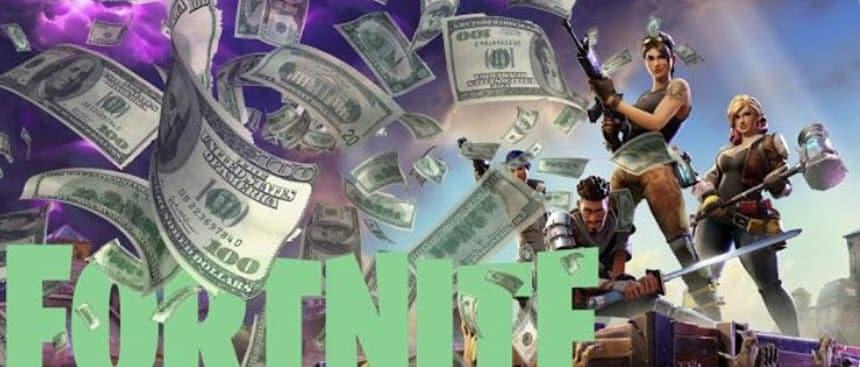 Fortnite imagen con ganancias en dolares del juego