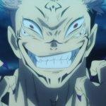 Imagen tomada del anime 'Jujutsu Kaisen' con un primer plano de Sukuna con una sonrisa malvada.