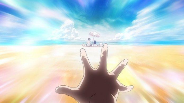 Imagen tomada del tráiler de 'kakushigoto Movie' con la mano de Hime extendiéndose en el recuerdo de sus padres a la orilla del mar.