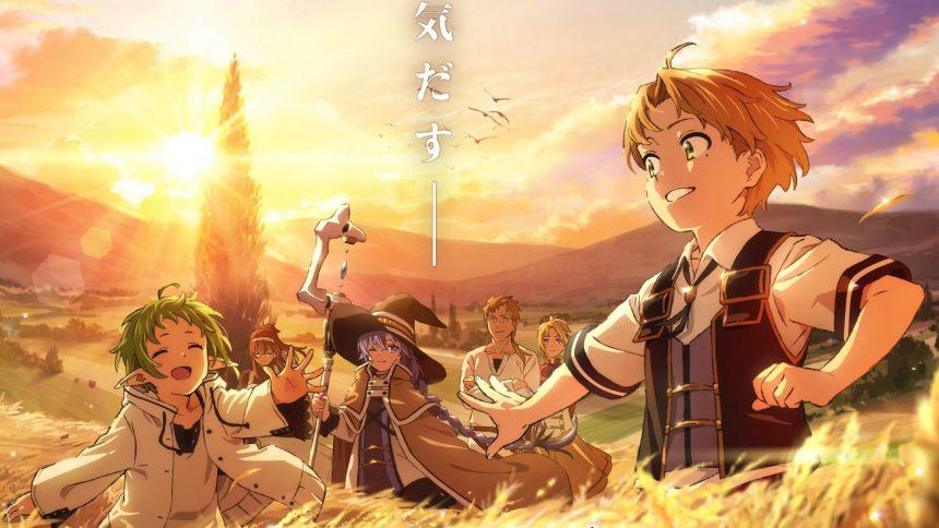 Imagen promocional de 'Mushoku Tensei: Isekai Ittara Honki Dasu' con los protagonistas Ben un campo de trigo.