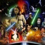 Star Wars poster con todos los personajes de la saga