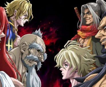 Imagen promocional de 'Shuumatsu no Walküre' con los dioses y los humanos mirándose a los ojos en un fondo negro con llamas rojas.
