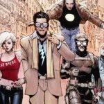 Ilustración del cómic 'Super Crooks' con los villanos mirando hacia al frente mientras al fondo se ve España.