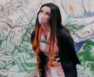 Fotografía de la cosplayer Inq como Nezuko de 'Kimetsu no Yaiba'.