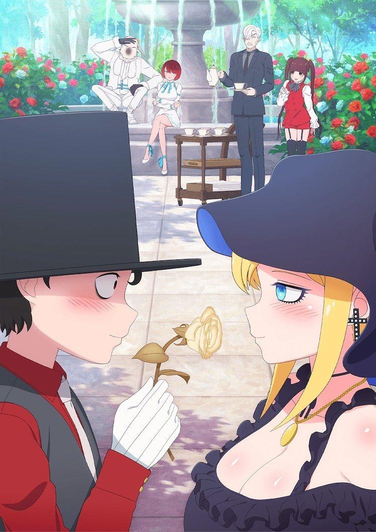 Imagen promocional de Shinigami Bocchan to Kuro Maid con mis protagonistas mirándose a los.ojos.