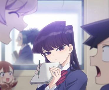 Imagen promocional de Komi-san wa, Comyushou desu. Con la protagonista mirando a la cámara y el resto del elenco conversando entre ellos