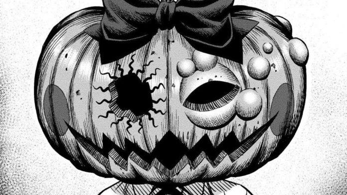 Imagen tomada del manga 'Pumpkin Night' con un primer plano de la protagonista con la cabeza.de calabaza.