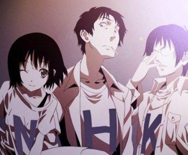 Imagen promocional de 'NHK ni Youkoso!' con los tres protagonista mirando a la cámara.